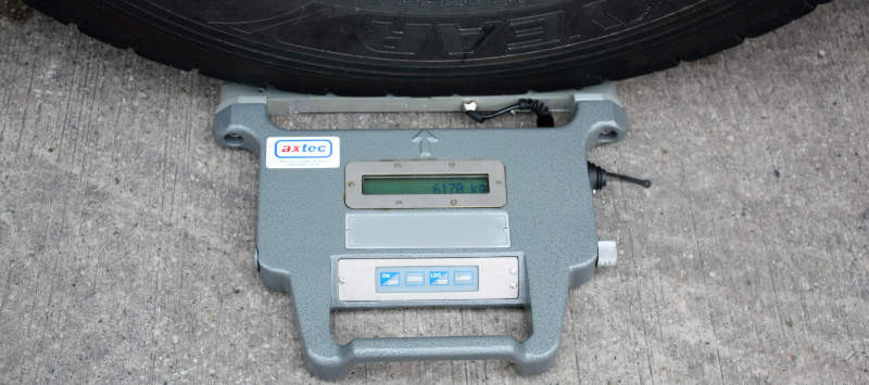 Axtec Portable Weighpad, underneath a wheel with the display shown